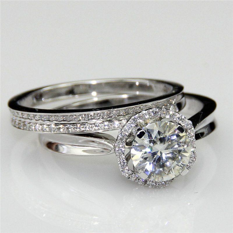1.42Ct White Moissanite Halo Classic Engagement Wedding Ring Set 14K White Gold