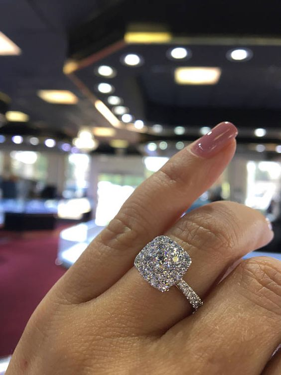 Cushion Cut Double Halo Diamond Engagement Ring 925 Sterling Silver