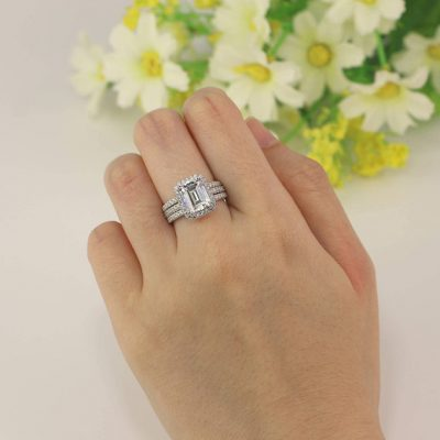 Emerald Cut Halo Diamond Engagement Wedding Band Ring Sets 925 Sterling Silver