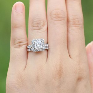 Fancy Princess Cut Diamond Halo Engagement Gift Ring 925 Sterling Silver