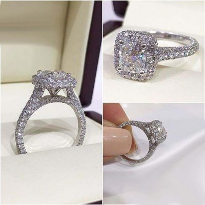 Brilliant Princess Cut Pave Diamond Engagement Ring 925 Sterling Silver