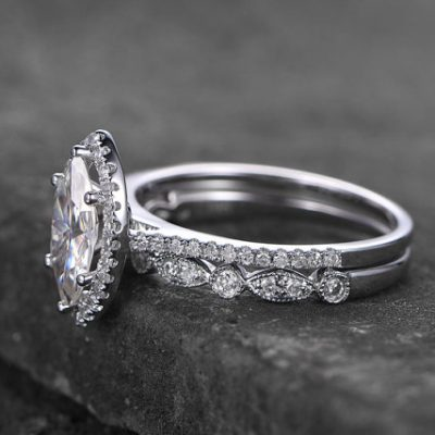 Fancy Marquise Cut Diamond Wedding Band Ring Set 925 Sterling Silver