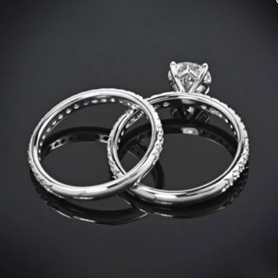 2Ct Brilliant Cut White Moissanite Solitaire Engagement Wedding Set 925 Sterling Silver