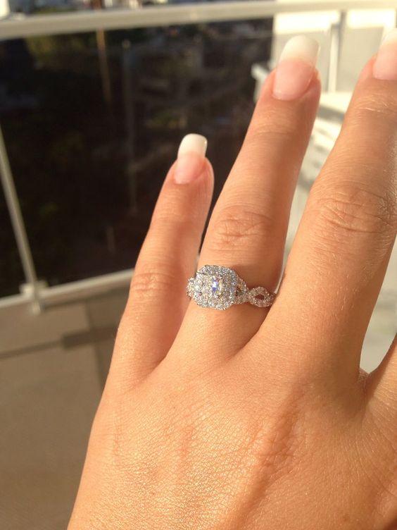 Princess Cut Halo Diamond Twisted Bridal Wedding Band Ring Set 925 Sterling Silver