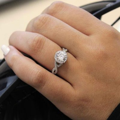 Solitaire Round Cut Diamond Engagement Anniversary Ring Set 925 Sterling Silver