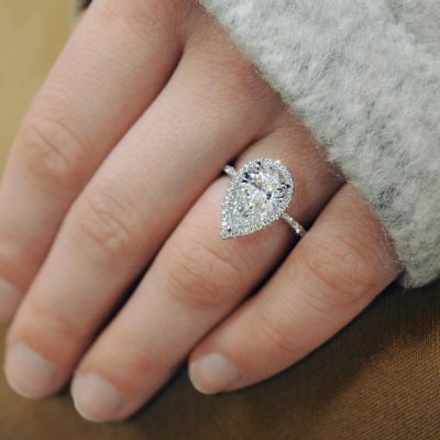 Fancy Pear Cut Halo Diamond Engagement And Promise Ring 925 Sterling Silver