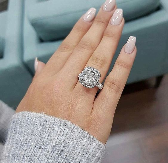 925 Sterling Silver Oval Cut Double Halo Cushion Shape Diamond Engagement Ring