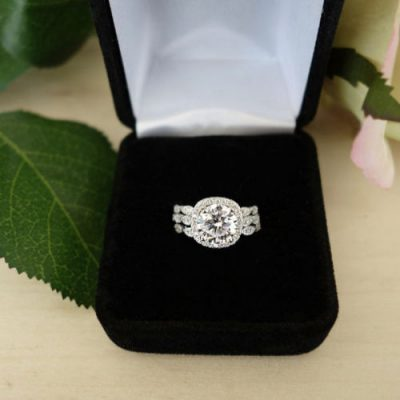 Unique Round Cut Halo Diamond Bridal Wedding 2 Band Ring Sets 925 Sterling Silver