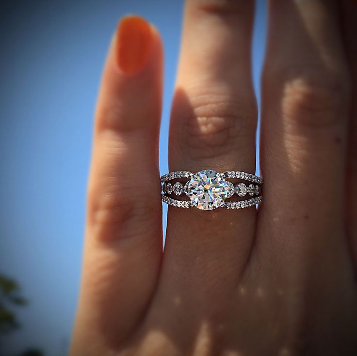 Fancy Solitaire Round Cut Side Diamond Engagement Ring 925 Sterling Silver