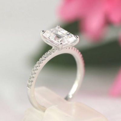 Solitaire Emerald Cut Diamond Engagement Gift Ring 925 Sterling Silver