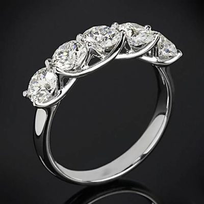 5 Stone Round Cut Diamond Engagement & Promise Ring 925 Sterling Silver