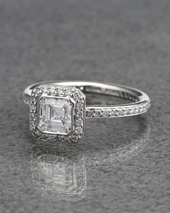 Gorgeous Bezel Style Asscher Cut Diamond Engagement Ring 925 Sterling Silver