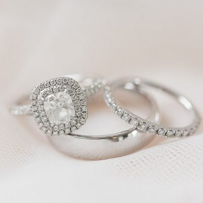Forever Cushion Cut Double Halo Diamond Wedding Band Ring Set 925 Sterling Silver