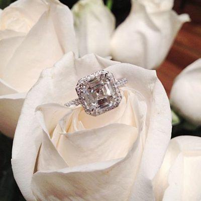 Asscher Cut Halo Diamond Engagement Band Ring Set 925 Sterling Silver