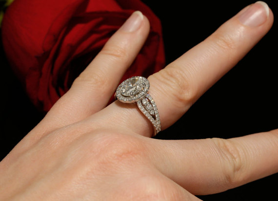Oval Cut Diamond With Fancy Style Engagement Ring 925 Sterling Silver