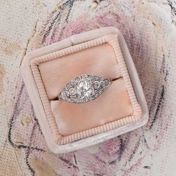 Vintage 5 Stone Round Cut Diamond Engagement Ring 925 Sterling Silver