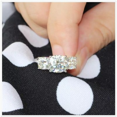 3 Stone Cushion Cut Diamond Engagement & Promise Ring 925 Sterling Silver