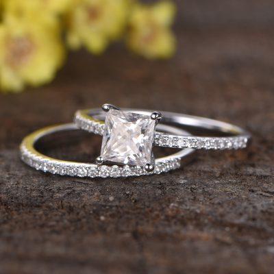 925 Sterling silver 2.82CT Princess Cut Diamond Engagement Anniversary Ring Band Set