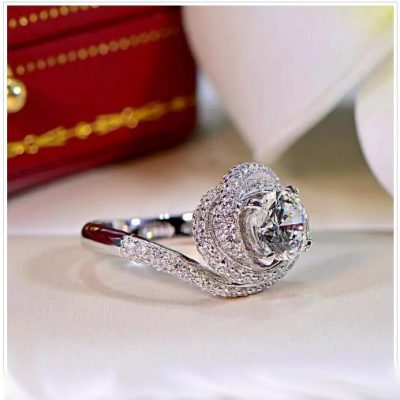 Round Cut Diamond Engagement & Special Rose Day Ring 925 Sterling Silver