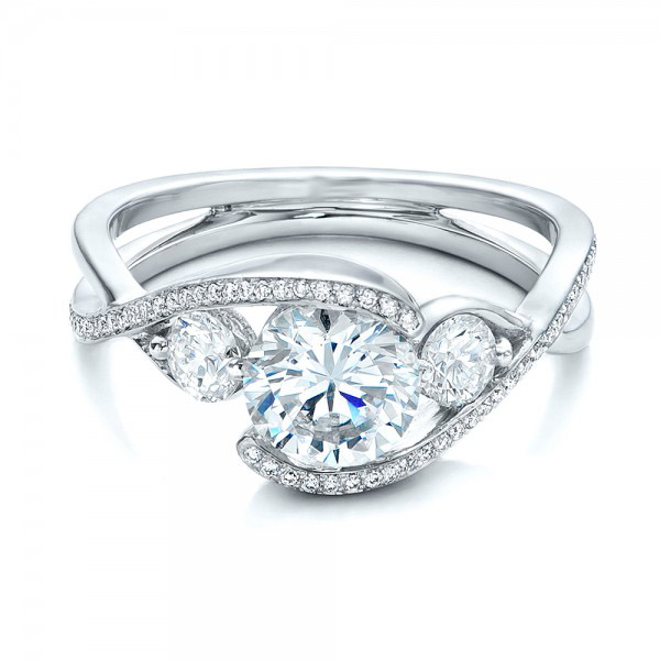 3 Stone Brilliant Round Cut Diamond Engagement Ring 925 Sterling Silver