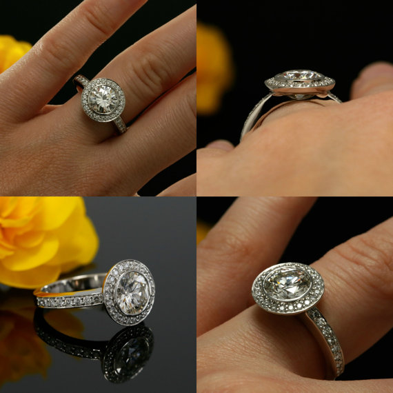 Bezel Round Cut diamond Engagement & Wedding Ring 925 Sterling Silver