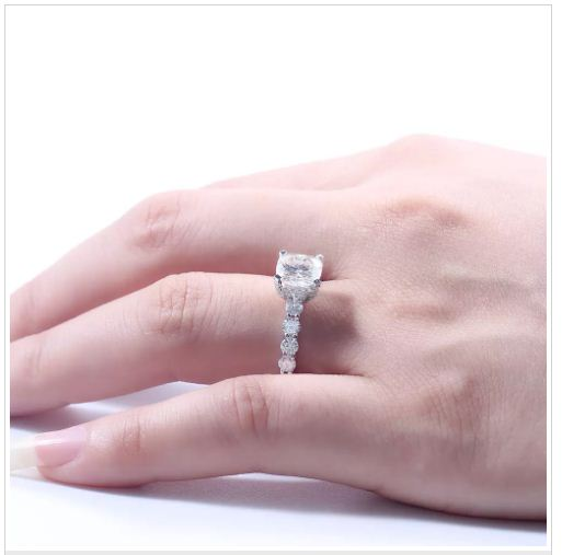 Forever Cushion Cut diamond Engagement & Wedding Ring 925 Sterling Silver