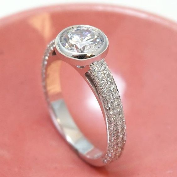 1.84CT Bezel Cut Micro Pave Diamond Engagement Ring 925 Sterling Silver