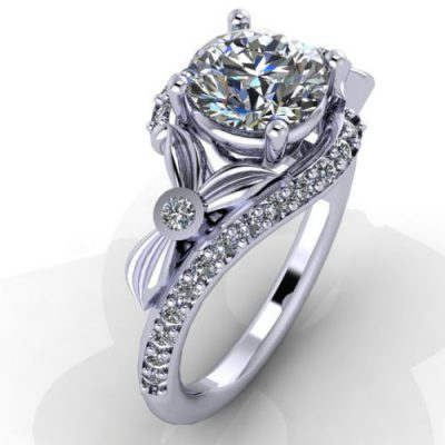 Round Cut Diamond Side Leaf Design Engagement Ring 925 Sterling Silver