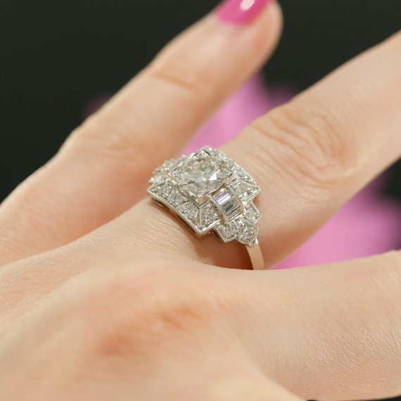 Brilliant Cut Art Deco Style Diamond Engagement Ring 925 Sterling Silver 1.58CT