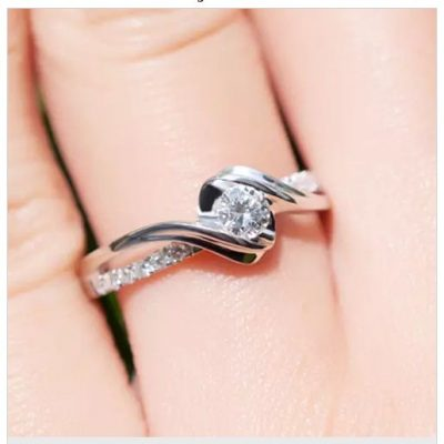 Fancy Round Cut Diamond Engagement Ring 925 Sterling Silver