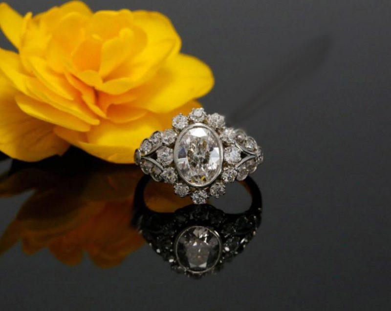 Bezel Oval Cut Diamond Vintage Engagement Wedding Ring 925 Sterling Silver