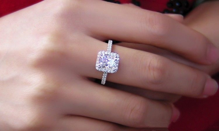 Princess With Radiant Cut Halo Diamond Engagement Ring 925 Sterling Silver