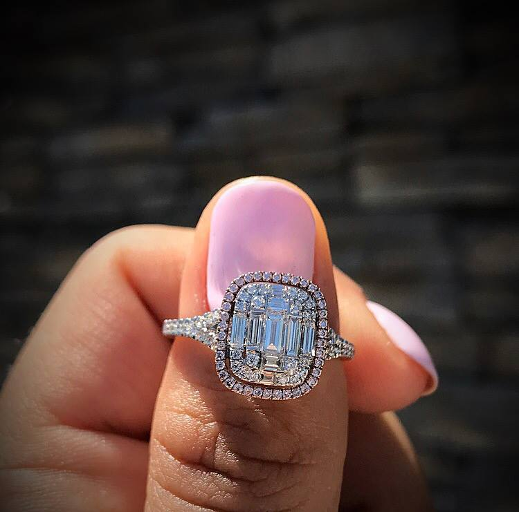Baguette Cut Halo Diamond Engagement Wedding Ring 925 Sterling Silver