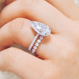 Fancy Pear Cut Halo Diamond Engagement Wedding Band Ring Set 925 Sterling Silver