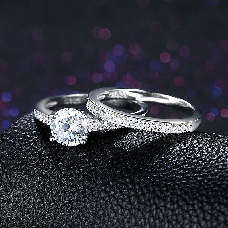 1.70Ct Brilliant Moissanite Solitaire Engagement Wedding Ring Set 925 Sterling Silver