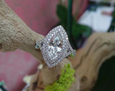 Marquise Cut Twisted Design Double Halo Diamond Engagement Ring 925 Sterling Silver