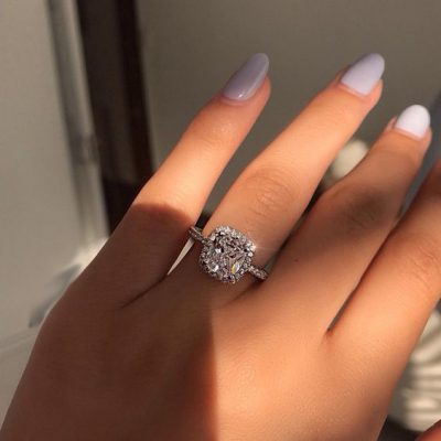 Brilliant Diamond Cushion Cut Halo Engagement Ring 925 Sterling Silver