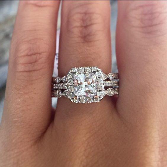 Princess Cut Diamond Bridal Wedding Double Band Ring Set 925 Sterling Silver