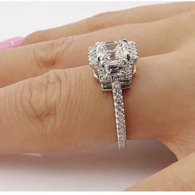 Unique Radiant Cut Diamond Engagement Anniversary Ring Set 925 Sterling Silver