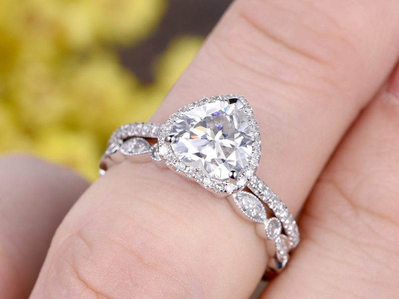 Heart Shape Halo Diamond Engagement & Propose Band Ring Set 925 Sterling Silver
