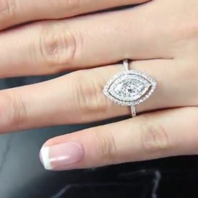 Marquise Cut Double Halo Diamond Engagement Ring 925 Sterling Silver