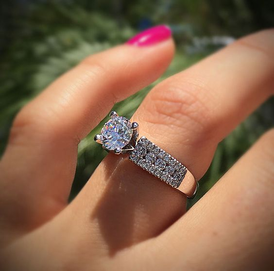 Solitaire Round Cut Micro Pave Diamond Engagement Wedding Ring 925 Sterling Silver