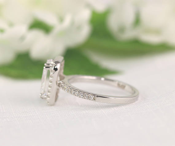 Antique Radiant Cut Diamond Engagement Ring 925 Sterling Silver