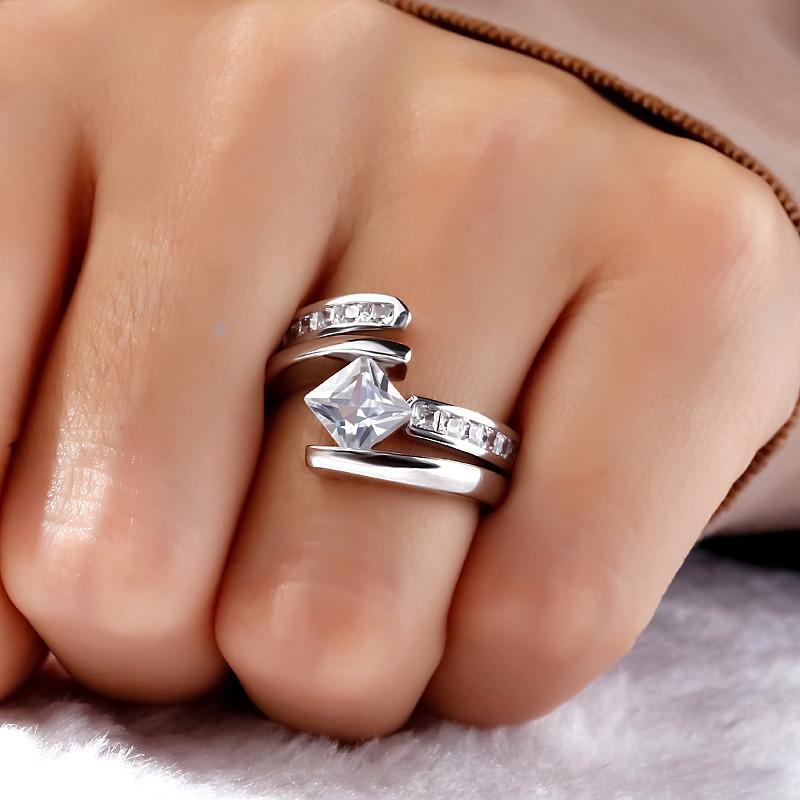 Fancy Princess Cut Diamond Engagement Ring Set 925 Sterling Silver