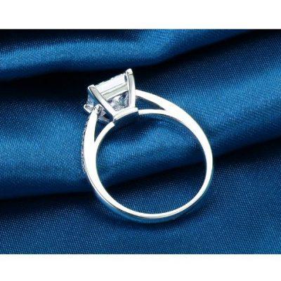 Fancy Princess Cut Diamond Engagement Ring 925 Sterling Silver