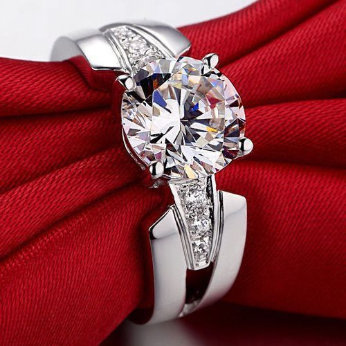Gorgeous Round Cut Diamond Engagement Ring 925 Sterling Silver 2.30CT