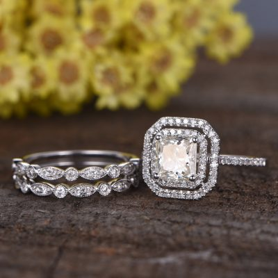 Asscher Cut Double Halo Diamond Bridal Wedding 2 Band Ring Sets 925 Sterling Silver