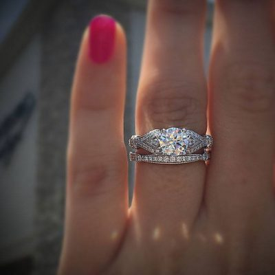 2.80Ct Solitaire Round Cut Diamond Vintage Engagement wedding Band Set Ring 925 Sterling Silver