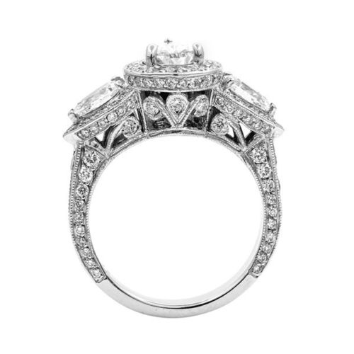 3 Stone Solitaire Pear Cut Halo Diamond Engagement Ring 925 Sterling Silver 2.35Ct