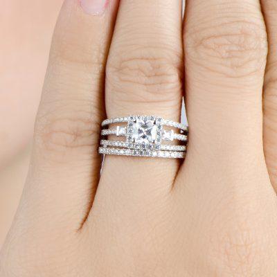 3 Stone Princess Cut Diamond Wedding Anniversary Ring Band Set 925 Sterling Silver